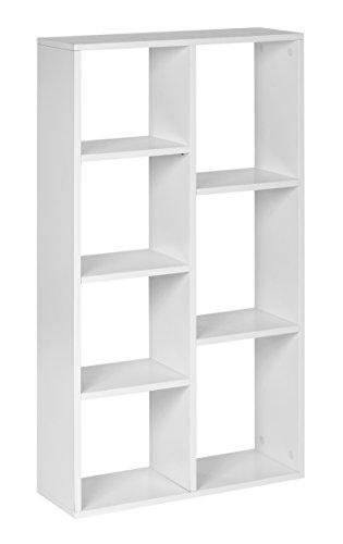 ts-ideen Design Regal Hochregal Standregal Bücherregal CD-Regal Aufbewahrung Holz weiß
