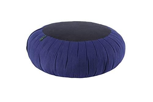 ANADEO YogaProducts ZAFU - Cojín para Yoga y Meditación - Capok de Alta Densidad 100% Natural - Asiento Firme y Cómodo - Grosor Redondo 15 cm - Negro Indigo
