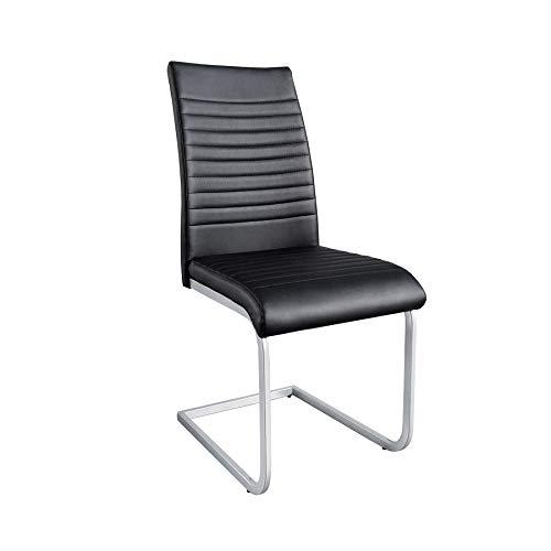 Invicta Interior Moderner Freischwinger Stuhl Apartment schwarz mit Chromgestell Freischwingerstuhl Esszimmerstuhl