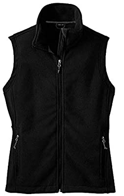 Womens Soft and Cozy Fleece Vests-2XL-Black from