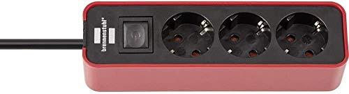 Brennenstuhl Ecolor regleta enchufes con 3 tomas corriente (cable de 1.5 m, con interruptor) color rojo/negro