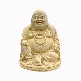 Buda sonriente en posición sentada 'Auyumi' de piedra fundida