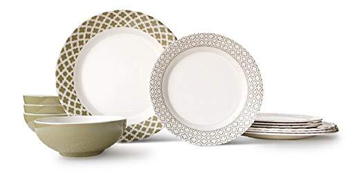 Bowla 12-Piece Melamine Dinnerware Set - Service for 4 (Goldgrass)