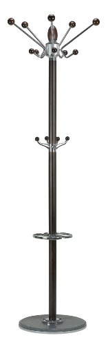 Cortesi Home CH-CR420740 Lava Coat Rack with Marble Base, Chrome/Dark Walnut