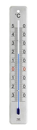 TFA Dostmann Analoges Innen-Außen-Thermometer, 12.2046.61, aus Edelstahl, Innen- und Außentemperatur, wetterfest