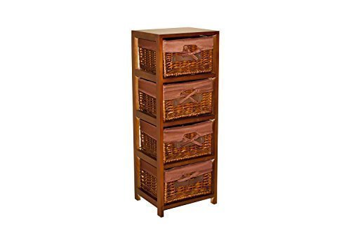 Borras Hnos - Mueble 4 cajones Mimbre Color Miel. (Color: Miel Tamaño: 30x25x80)