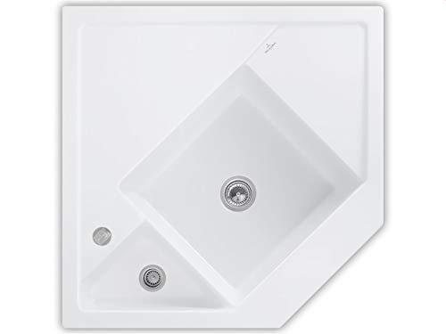 Villeroy & Boch Monumentum Stone White Keramik-Spüle Küche Eckspüle Modulspüle