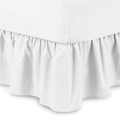 Chengstore Falda de Cama de Color Puro sin Superficie de Cama, Faldas de Cama elásticas con Volantes, fácil Ajuste y Llena de Ambiente cálido, Blanco, A:150 * 200+38cm