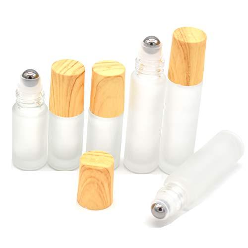 Yueser 6 piezas Botellas Roll On para Aceites Esenciales con Roll-on Bola de Acero Inoxidable y Tapa de Bambú Imitación para Perfume Aromaterapia Aceite Esencial,5 ml 10ml