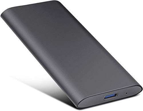 Disco duro externo de 2 TB, disco duro externo portátil, almacenamiento de datos en disco duro externo fino, USB 3.1 / Type-C compatible con PC, ordenador portátil y Mac (2TB, Black-A)