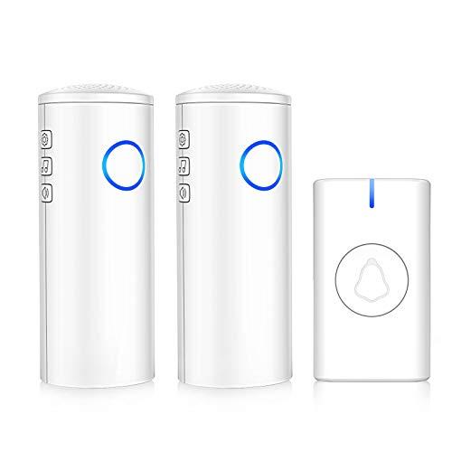 Wireless Doorbell, USB and Battery Operated Door Bells IP55 Waterproof -...