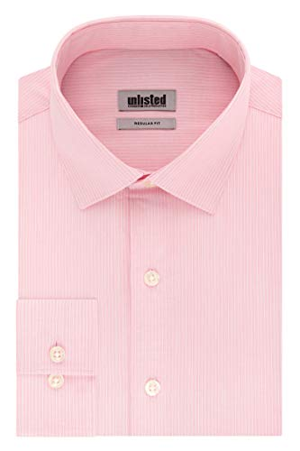 Unlisted by Kenneth Cole Men's Dress Shirt Regular Fit Checks and Stripes (Patterned), Apricot, 17'-17.5' Neck 36'-37' Sleeve (X-Large)