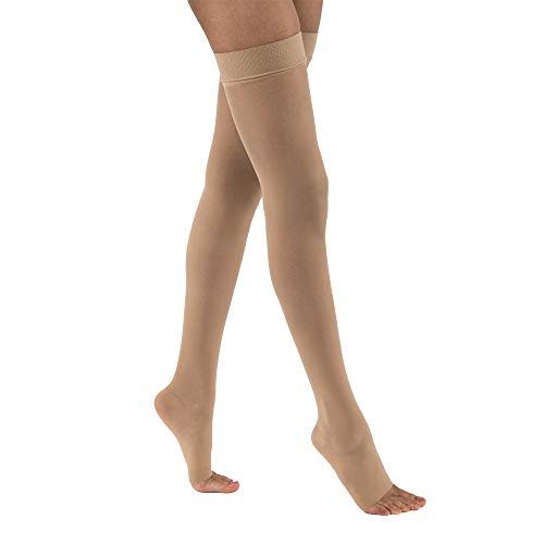 Jobst Ultrasheer 20-30 Thigh High Open Toe Compression Stockings w/Dot Silicone Band Natural X-Large Short Length