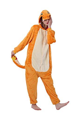 FunnyCos Pijama unisex de una pieza para adultos, diseño de animal, para cosplay Charmander. M