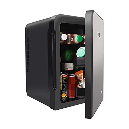 YMXLXL 10L Negro Nevera Eléctrica, Mini Refrigerador con Puerta Panorámica de Cristal, Operación Silenciosa Mininevera con Función Frío y Calor, para Viajes al Aire Libre, Campamentos y Uso Familiar