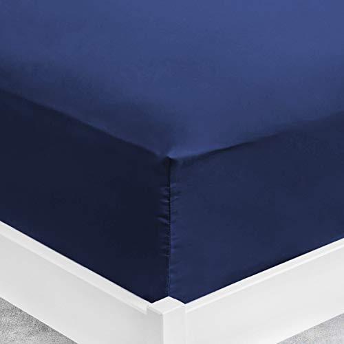 ViscoSoft | Sábana bajera 80 x 200 x 30 cm microfibra azul noche | Sábana grande de 30 cm de grosor | Funda ajustable | Tejido suave sin pliegues – Sábana bajera para colchón 80 x 200 cm