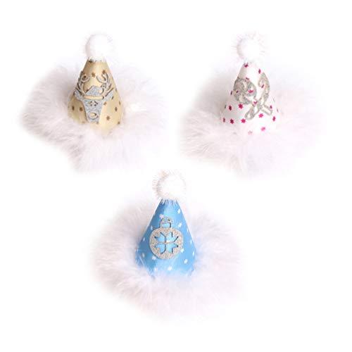 Amosfun Weihnachtshut Haarspangen Glitzer Mini Hut Haarspangen Kinder Haarspange Zubehör für Kinder 3St