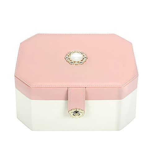 Portagioie PU.Scatola di gioielli in pelle portatile gioielli di viaggio custodia a due strati sacchetto di gioielli di grande capacità,regalo per ragazze o donne Cofanetti e Scatole ( Color : White )