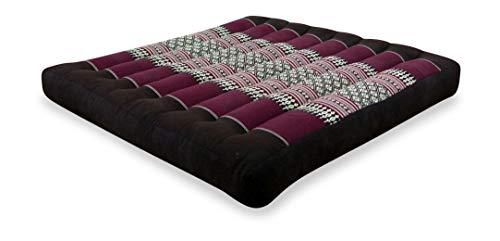 livasia Kapok Sitzkissen 50x50x6,5cm der Marke Asia Wohnstudio, optimal als Stuhlauflage oder Meditationskissen, Bodenkissen BZW. Stuhlkissen (weinrot)
