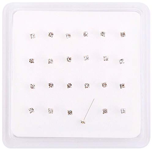5*JEWEL pack of 24 sterling silver clear jewel clawset nose studs 10mm posts can be bent into l shape to hold nose stud in place clawset jewels so jewels will not fall out 1.8mm square cut jewels