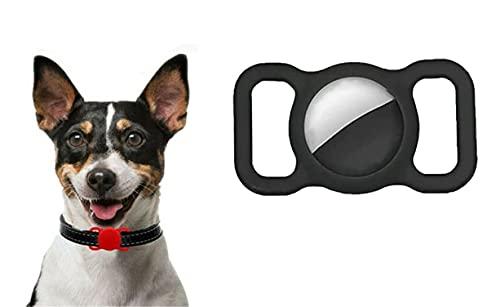 Etui de protection en silicone pour animaux de compagnie pour Apple Airtag Gps Finder Boucle de collier de chien pour chat, localisateur réglable anti-perte GPS Tracking Dog Cat (Noir)
