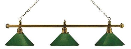 Billardlampe London 3fach Messing/Grün