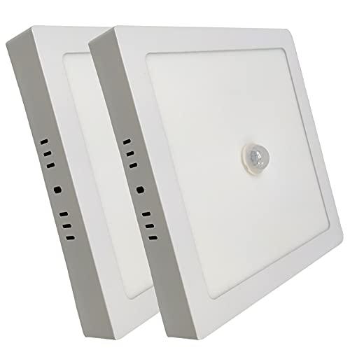 Pack 2x Plafon LED Cuadrado Superficie de 18w, con sensor de movimiento y luminico. (Enciende solo de noche). Color Blanco Frio (6500K).