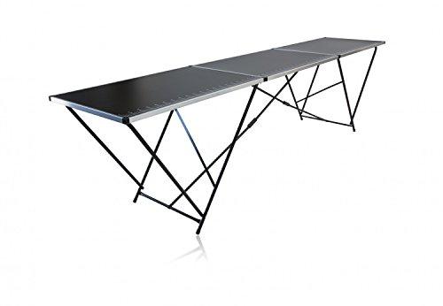 empasa Tapeziertisch 300 x 60 cm, 3 teiliger Klapptisch, Gewicht 10,6 kg, Stahlrohrgestell, Multifunktionstisch fürs Tapezieren, Arbeiten, Camping u.v.m.