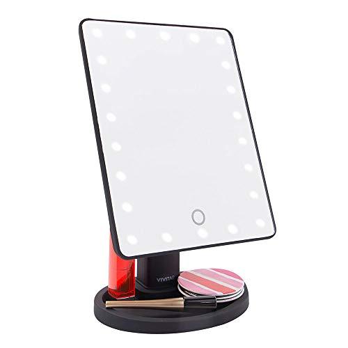 Espelho para Maquiagem Vanity Mirror com Iluminação de 22 LEDs e Anti-Embaçante, Vivitar, MR-1105B, Preto