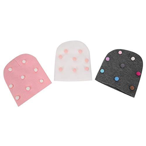 3 uds gorros para bebé, gorro de punto suave y cálido, gorro de punto para invierno, otoño, gorro elástico bonito para niños, niños, bebés(#1, Knitted hat)