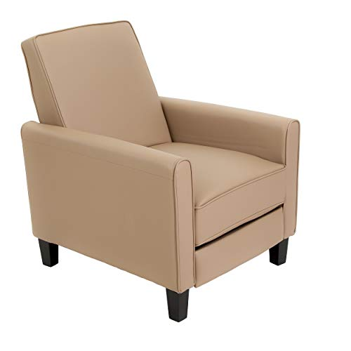 Lucas Camel Leather Recliner Club Chair