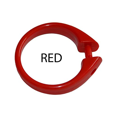 """Set of 12 Easy-to-Use Plastic Snap On Shower Curtain Rings Size: 2"""" Diameter (Red)"""