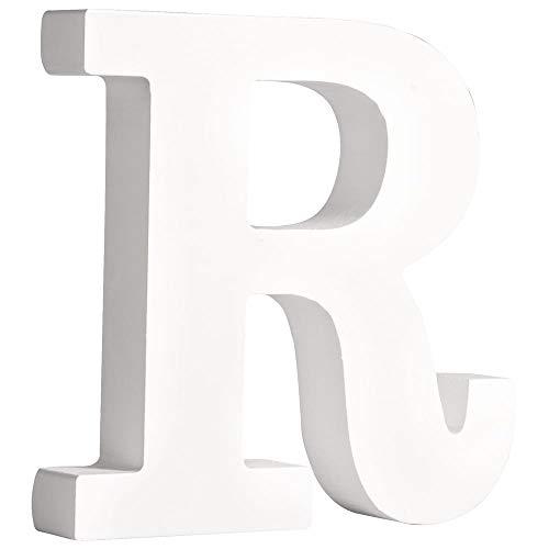 """Rayher 62669000 MDF- Buchstabe """"R"""", weiß, 11 cm, Stärke 2 cm"""
