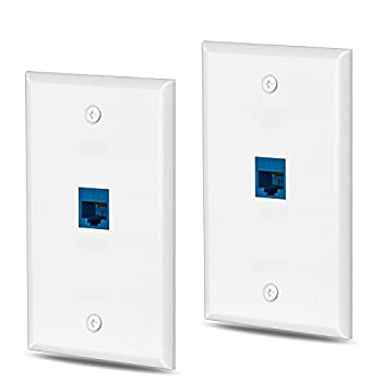 HuaHengHT cat6 Ethernet Wall Plate Outlet 1 Port RJ45 Network Female to Female Keystone Wall Coupler Jack Plate  1 Cat6 2 Packs Blue