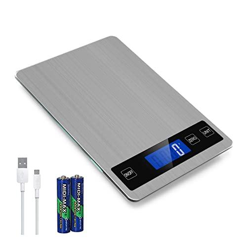 SMBOX Balance de cuisine numérique rechargeable avec écran LCD et bouton tactile intelligent pour la cuisine et la pâtisserie 15 kg