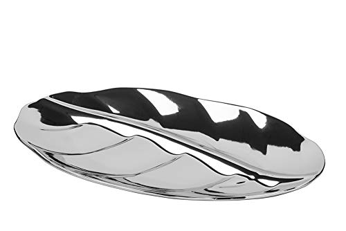 Fink Schale Xenia - Keramik Blattform silberfarben 26x14 cm