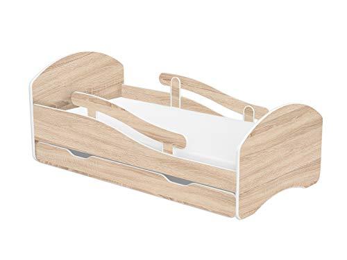 Clamaro \'Leo\' Kinderbett Jugendbett 160x80 mit verstellbarem Rausfallschutz (beidseitig) und Kantenschutzleisten, Bett Set inkl. Lattenrost und Matratze - Eiche/Eiche