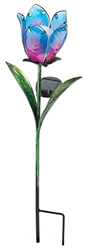 Regal Art & Gift 10558 Solar Tulip Stake, Blue/Pink