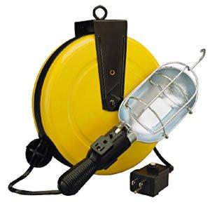 Alert Stamping 5000-50G-CB Incandescent Metal Retractable Cord Reel Work Light with Circuit Breaker