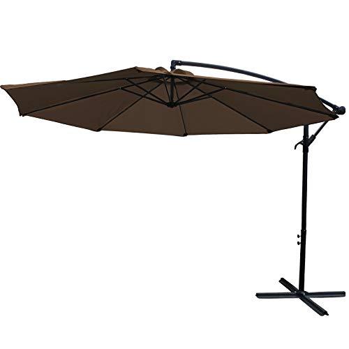 AXT SHADE Sombrilla Parasol Sombrilla Exterior 300CM, Sombrilla Voladiza,con Mecanismo de Manivela para Exterior,Jardín,Patio,Pool-café