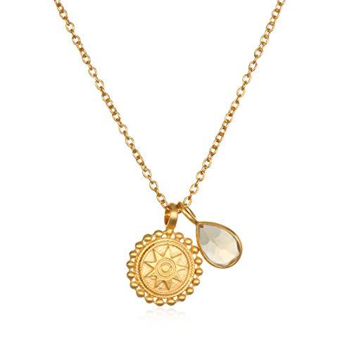 Satya Jewelry Kette Damen Gold - Charm Anhänger 1 Mandala Rund + 1 Citrin Birthstone Tropfen - Silber 925 Vergoldet - NG3-NOV-L16