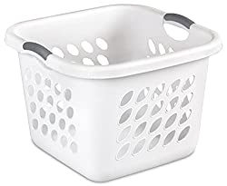 Image: Sterilite Square Laundry Basket | features heavy duty construction including a thick reinforced rim and reach through handles