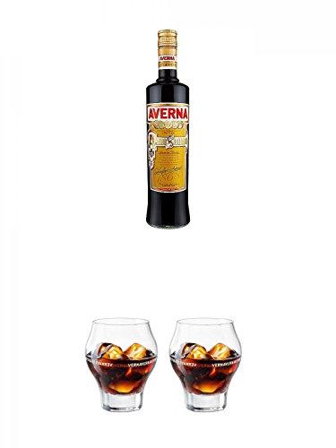 Averna Amaro Siciliano Halbbitter aus Italien 1,0 Liter + Averna Glas ohne Eichstrich + Averna Glas ohne Eichstrich