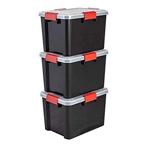 Iris Ohyama, Set di 3 scatole di immagazzinaggio ermetiche, 20 L, con clip, impilabile, garage, cantina, soffitta, Air Tight Box AT-SD, Nero