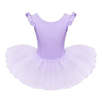 Girls Ruffle Sleeves Ballet Dance Dress Tutu Skirted Leotard for Toddler Kids Ballerina Dress Gymnastics Dancewear Costume Purple 5-6 Years