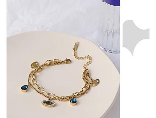 N/A Bracelet jewelry Exquisite Blue Eye Pendant Bangle Bracelet for Women Delicate Cubic Zirconia Jewelry Fashion Temperament Bracelet Gift Valentine's Day present