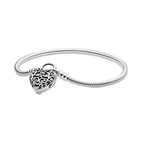 "Pandora Jewelry Smooth Silver Padlock Sterling Silver Bracelet, 7.1"""