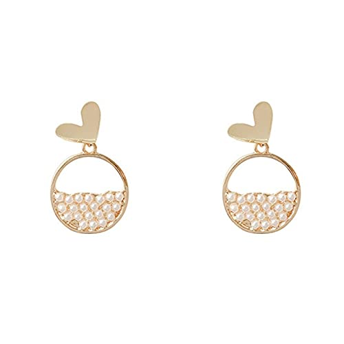 S925 pendientes de perlas de temperamento de aguja de plata temperamento pendientes de corazón de sexo simple pendientes de moda