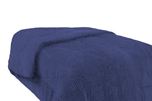 M.R. & C - Manta para Sofá y Cama Polar de Doble Cara. Interior Sherpa/Borrego y Exterior Pelo con Textura canelada. (Azul, Cama 105/135 (180x240 cm))