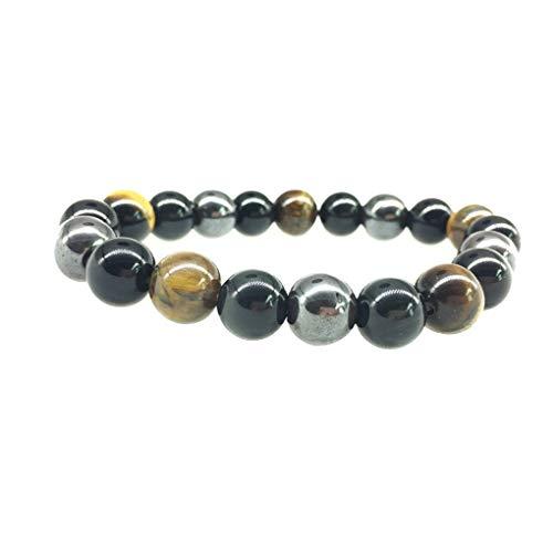 Sherineo 3 Colores Perlas Hombres Mujeres Pulsera de la Pulsera 10mm Piedras Beads Brazalete Unisex de Pulsera de joyería